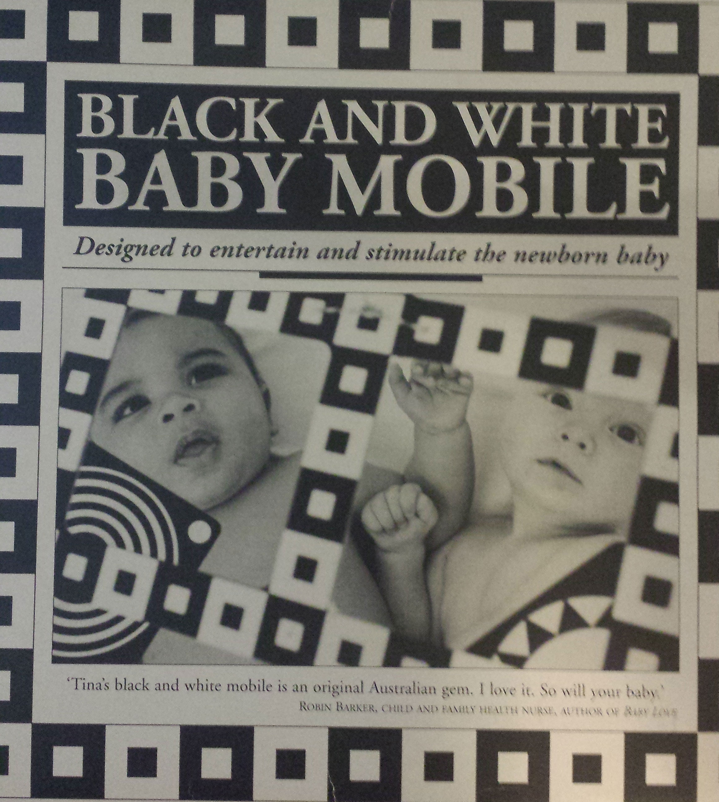 Black and white baby mobile designed and made in australia by tina - We Were Given This Mobile Among The Many Baby Gifts I Liked The Idea But Found The Execution Lacking So I Made My Own I Like Mine Better
